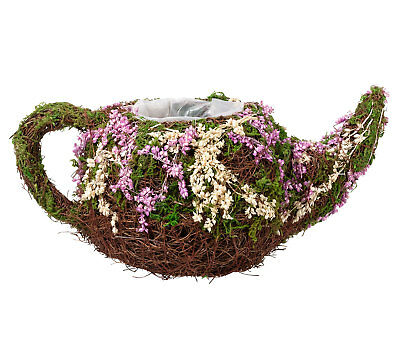 Rattan And Moss Teapot Tea Pot Cup Floral Table Decoration Wedding Flowers Girl