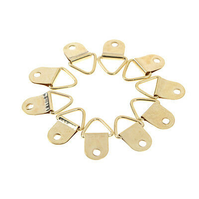 20Pcs D Ring Hooks Golden Brass Triangle Photo Picture Frame Wall MountFFE