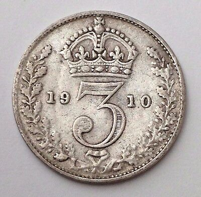 Dated : 1910 - Silver Coin - Threepence / 3d - King Edward VII - Great Britain