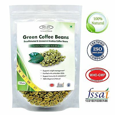 100% Natural Sinew Nutrition Green Coffee Beans Decaffeinated & Unroasted 200g