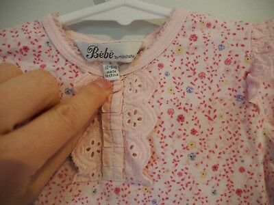 Bebe baby girl long sleeved floral top - size 0 (6 to 9 months)