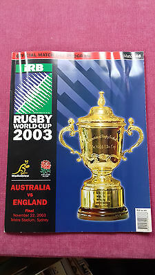 Rugby World Cup 2003 Final Programme Australia V England Mint Condition