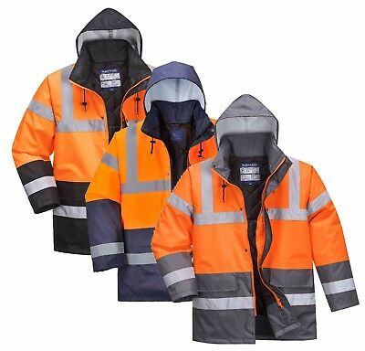 Portwest S4627 Mens Hi Vis Two Tone Jacket Waterproof Quilted Parka RIS Workwear