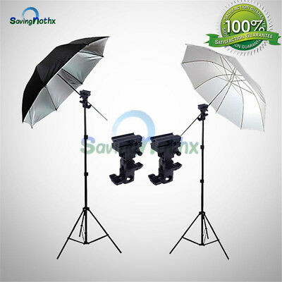 Photo Studio Speedlite Flash Umbrella Light Lighting Stand+2 Mount Bracket  KiT