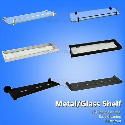 Metal Glass Shelf Bathroom Towel Rack Holder Wall Mounted Black / Polished SS304