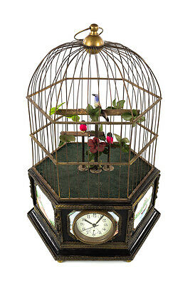 Antique Animated Large Bird Cage Music Box w/Clock