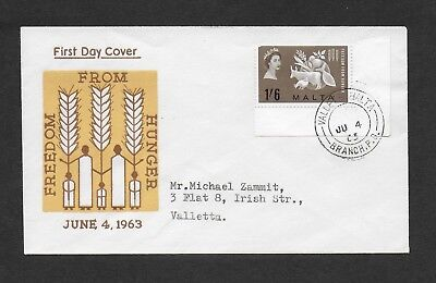 Malta First Day Cover, 1963 Freedom From Hunger Stamp Used.