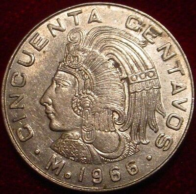 Scarce Date Xf 1966 50 Centavos Mexico**aztec Warrior**nice Detailed Coin