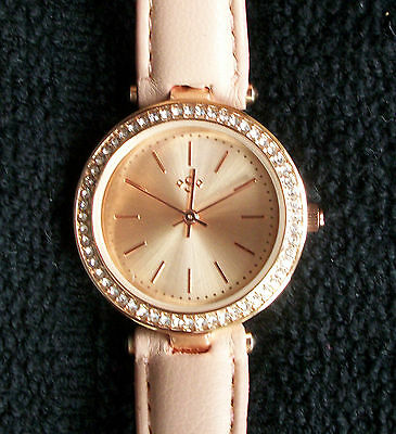 Spirit Ladies Rose Colour Stone Set Watch With Nude Strap
