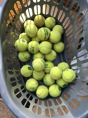 30 X Used Mini Green Tennis Balls Dog Toys