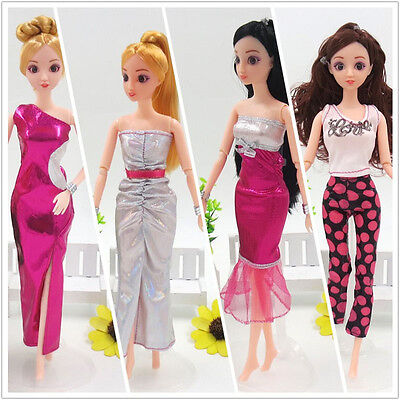 5PCS Casual Blouse Trousers/Dress Clothing Outfits For Barbie Doll Random Gift