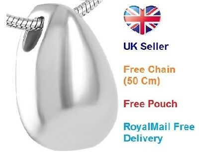 Cremation Jewellery for Ashes, Funeral Memorial Ash Pendant Silver Drop Necklace