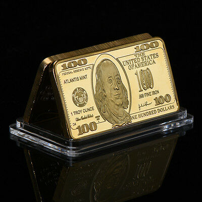 WR Gift US $100 Dollar Bill Banknote .999 Fine Gold Plated Bar Craft In Capsule
