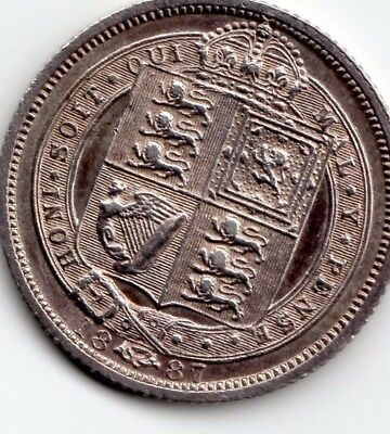 Sterling silver brilliant uncirculated 1887 sixpence