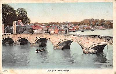 Wales Cardigan, The Bridge, Bruecke, Pont, boat 1905