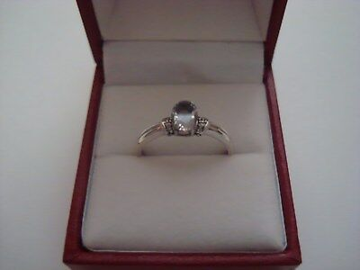 Hallmarked 9Ct White Gold 71Pt Solitaire + Genuine Diamond Accents Ring Size R