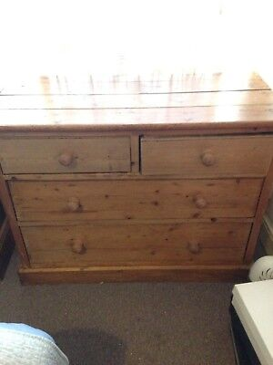 Lovely Antique Victorian Solid Pine Wooden Chest 4 Drawers Reluctant Sale