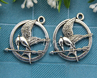 Hot 10pcs Tibet Silver exquisite Birds Jewelry Finding Charms Pendant 30x25mm