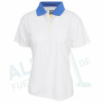 Page & Tuttle Polo for Ladies, Short Sleeve, White/Blue, Size 2XL (D 44)