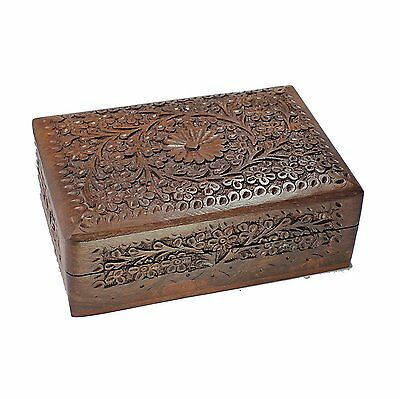 Top Carved Wooden Jewelry Box Beautiful Rectangle Box Christmas & New Year Gift