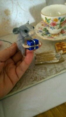 Needle felted mouse, animal ooak, hand made, dolls house