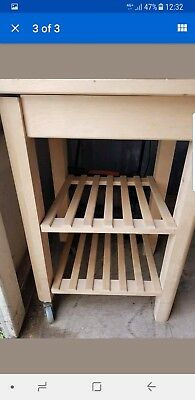 kitchen trolley solid birch wood natural finish brand new.