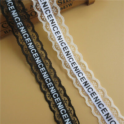 5 yd NICE Embroidered Lace Edge Trim Ribbon Wedding Applique DIY Sewing Craft