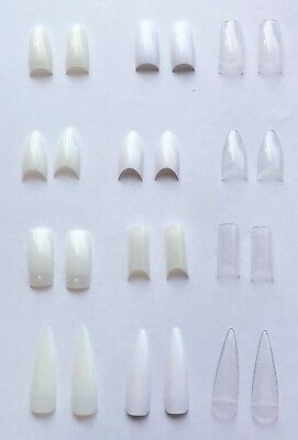 False Nail Tips - Natural Clear White Stiletto Almond Display Pre-Pinched Vamp