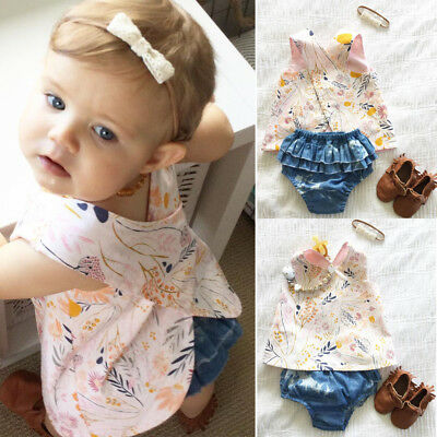 AU Flower Newborn Baby Girls Outfit Clothes Romper Tops T-shirt+Shorts Pants Set