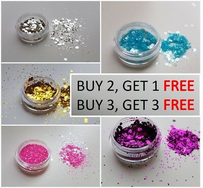 Cosmetic Glitter Pot. Chunky/Fine Dust mixed Pot for Face, Body, Nails.