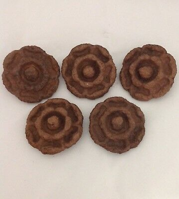 5 cast iron round flower medallion rosettes 2 1/4 inch