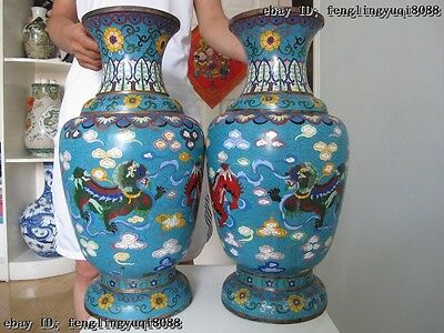20 China Palace Copper cloisonne enamel Six Fu Foo Dogs Lion Play Ball Vase Pair