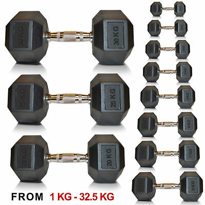 Sporteq Hex Dumbbells Pairs Rubber Encased Weights Sets, Hexagonal Dumbbell Gym