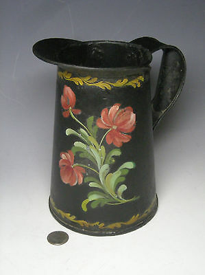AAFA Antique Polychrome Painted Tole Pitcher, American, Mid-19th c., No Reserve