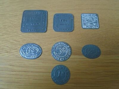William Brothers Direct Supply Co 7 Tokens Nice examples see pictures