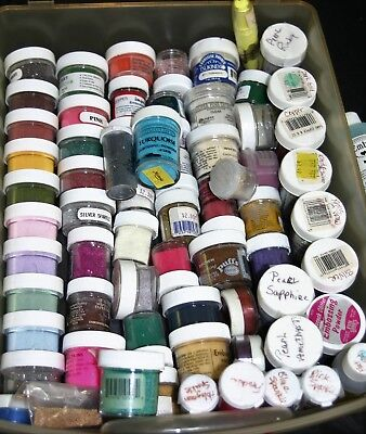 HUGE Lot of 65 Rubber Stamp Embossing Powders-Cards-Art-Scrap Booking