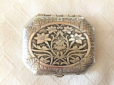 Vintage Compact Mirror Silver Plate Karess Woodworth