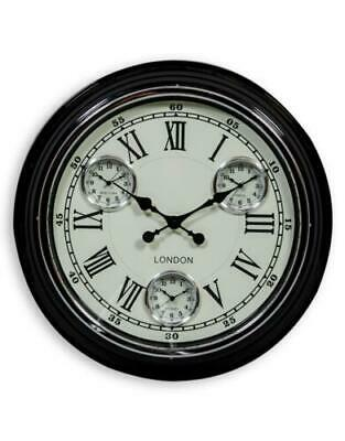 Black with White Face Multi Dial Wall Clock Time Zone Metal Roman Numerals 50cm
