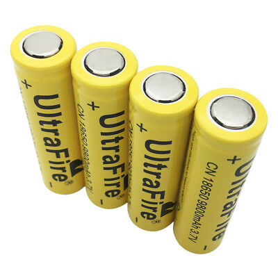 4X Flat Top 18650 Li-ion Battery 3.7V 9800mAh Rechargeable for Flashlight Torch