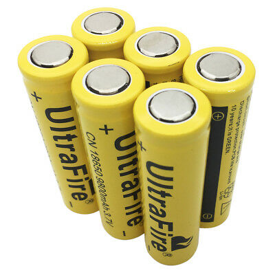 6X 18650 Li-ion Battery 3.7V 9800mAh Rechargeable Flat Top for Flashlight Torch