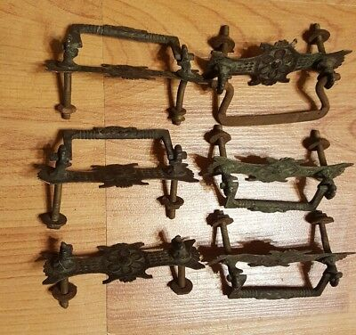 6 ornate brass copper furniture dresser drawer pulls hardware art deco victorian