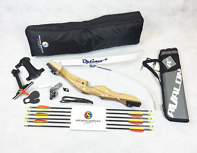 Womens Archery Wooden Recurve Bow Package With Arrows, Sight, Case and lots more