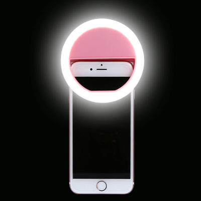 Pink Selfie LED Ring Flash Fill Light Clip Camera For Phone iPhone Samsung HTC
