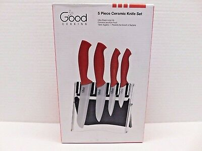 Ceramic Knife Block Set, 5 Piece Cutlery Knives By Good Cooking, Red Handles