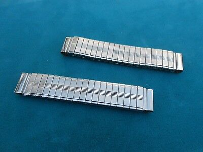 Silver Watch Tips Centers Stainless Steel Stretch Bands, Lot of 2