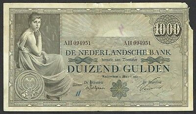 Netherlands 1000 Gulden 1921 Grietje Seel P42 Rare & Early Year!