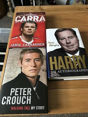 Jamie Carragher, Peter Crouch, Harry Redknapp autobiographies | good condition