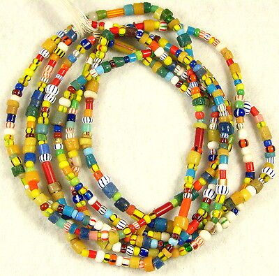 2 Long Strands Mix Color Glass CHRISTMAS African Waist Trade Beads 2 to 8 mm