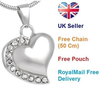 Cremation Jewellery for Ashes, Pendant mini keepsake Ash necklace crystal heart