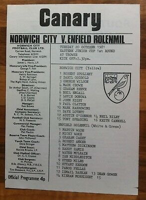 Norwich City Youth v Enfield Rolenmil Youth - Eastern Junior Cup - 20th Oct 1981